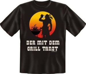 Fun Shirt DER MIT DEM GRILL TANZT T-Shirt Spruch (Größe:: L (50/52))