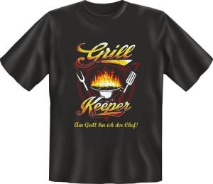 Fun Shirt GRILL KEEPER grillen T-Shirt Spruch (Größe:: L (50/52))