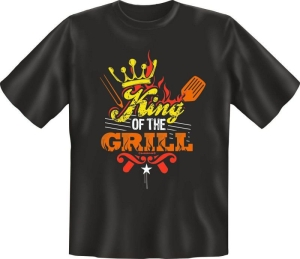 Fun Shirt KING OF THE GRILL grillen T-Shirt Spruch (Größe:: L (50/52))