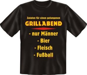 Fun Shirt ZUTATEN FÜR GRILLABEND GRILL grillen T-Shirt Spruch (Größe:: XXL (56))