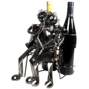 Flaschenhalter Pärchen auf Bank Hochzeit Flaschenständer