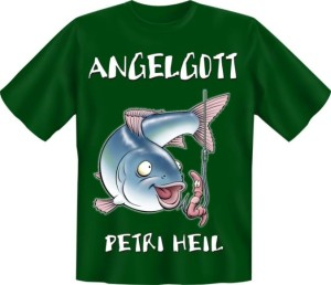 T-Shirt Angelgott angeln Fun Shirt Sprüche Angler Fisch Petri Heil Geschenk (Größe:: S (42/44))