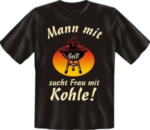 T-Shirt mit Fun Spruch: Mann mit Grill Fun-Shirt, Sprüche-Shirt (Größe:: S (42/44))