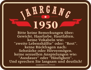 Blechschild JAHRGANG 1950 zum 70. Geburtstag
