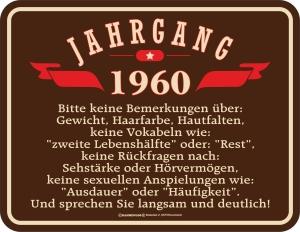 Blechschild JAHRGANG 1960 zum 60. Geburtstag