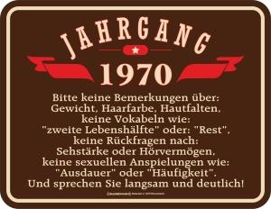 Blechschild JAHRGANG 1970 zum 50. Geburtstag