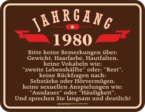 Blechschild JAHRGANG 1980 zum 40. Geburtstag