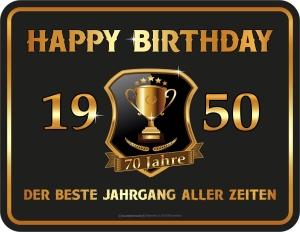 Blechschild Happy Birthday 1950 zum 70. Geburtstag