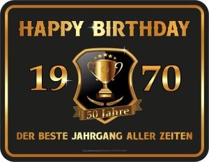 Blechschild Happy Birthday 1970 zum 50. Geburtstag