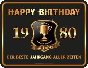 Blechschild Happy Birthday 1980 zum 40. Geburtstag