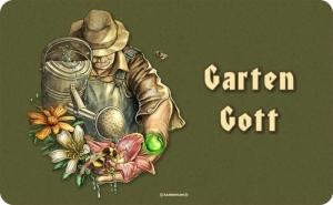 Frühstücksbrettchen GARTENGOTT, kultiges Schneidebrett / Brettchen für den Gärtner aus Resopal