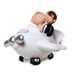 Figur Brautpaar in Flugzeug Comic Hochzeit Geschenk Deko