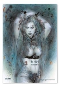 Flagge Louis Royo -Frau / Vampir mit Tattoo 1084, Fahne 75 x 110 cm, Posterflagge
