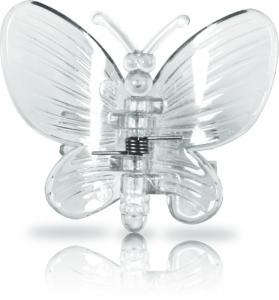 Clips für Orchideen, 6 Stück im Blisterpack, Schmetterling klar transparent