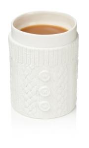 Tasse Kaffeebecher mit Strickpulli aus Keramik Becher Knitted Mug doppelwandig