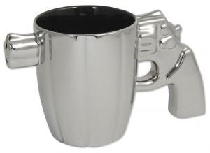 Tasse Becher Revolver Griff Kaffeebecher Kaffeepott silber