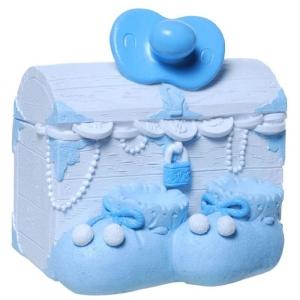Spardose Schatzkiste Baby Junge blau Schatztruhe Geburt