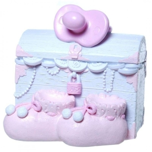 Spardose Schatzkiste Baby Mädchen rosa Schatztruhe Geburt