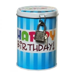 Spardose Happy Birthday Geburtstag Sparschwein Metall Schloß