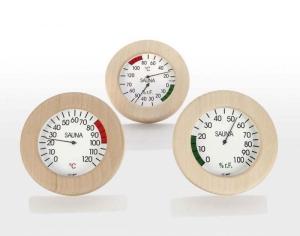 Klimamesser, Thermometer und Hygrometer im Holzrahmen (Messgeräte im runden Holzrahmen: Thermometer)
