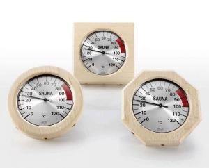 Thermometer im Holzrahmen für Ihre Sauna (Thermometer im Holzrahmen: 4-eckig)