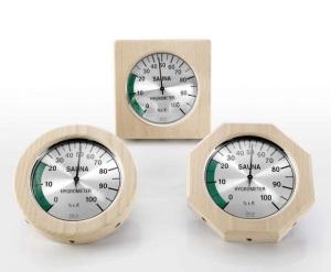 Hygrometer im Holzrahmen für Ihre Sauna (Hygrometer im Holzrahmen: 4-eckig)