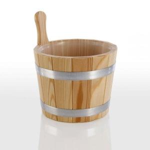 Aufgusseimer aus Lärchenholz natur für Ihre Sauna (Aufgusseimer: nur Kunststoffeinsatz als Ersatzteil)