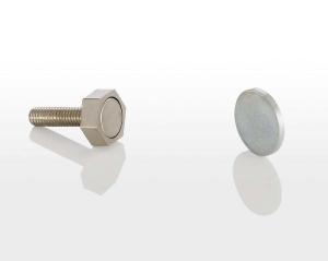 Türmagnet inkl. rundem Haftblech ohne Bohrung (Türmagnet inkl. Haftblech ohne Bohrung: 95 N (9,5 kg) mit Sechskantgehäuse 15 mm)