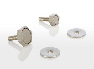 Türmagnet inkl. rundem Haftblech mit Bohrung (Türmagnet inkl. Haftblech: 95 N (9,5 kg) mit Sechskantgehäuse 15 mm)