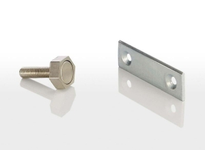 Türmagnet inkl. rechteckigem Haftblech mit Bohrung (Türmagnet inkl. Haftblech: 95 N (9,5 kg) mit Sechskantgehäuse 15 mm)