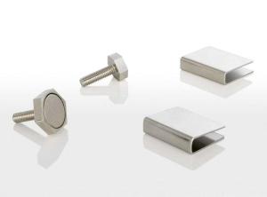 Türmagnet inkl. Haftblech (Türmagnet mit Haftkraft: 95 N (9,5 kg) für Glastürenstärke 10 mm mit Sechskantgehäuse 15 mm)