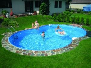 Achtformbecken Family von Future Pool, Innenhülle 0,6 mm, Kombihandlauf (Achtformbecken family, Innenhülle 0,6 mm, blau, Kombihandlauf: 470 x 300 cm, Tiefe  120 cm, 13 m³)