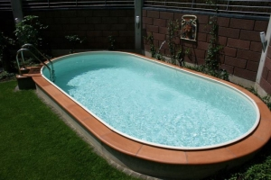 Ovalschwimmbecken SWIM mit eloxiertem Aluhandlauf, Folie sand (Ovalschwimmbecken SWIM, Innenhülle 0,8 mm, sand: 530 x 320 cm, Tiefe  120 cm, 16 m³)