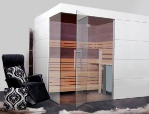 Elementsauna Excellent, Innenverkleidung Hemlock, Tiefe 242 cm (Maßangaben in T 242 x B: 242 x 154 cm mit Safor 6 kW)