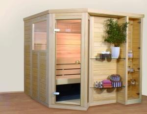 Massivholz-Verbundrahmen-Sauna Taru, Tiefe 218 cm, in Sapin Tanne