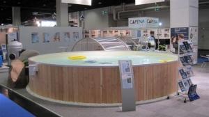 Rundbecken FUN WOOD von Future Pool, Innenhülle in sand (Rundbecken FUN WOOD, sand: 320 x 120 cm, 9 m³)