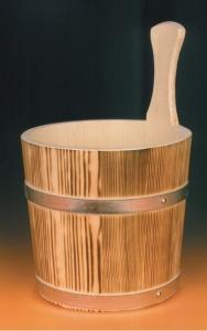 Sauna-Aufgusskübel 4 l mit Metallreifen, geflammt