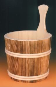 Sauna-Aufgusskübel 4 l mit Holzreifen, geflammt