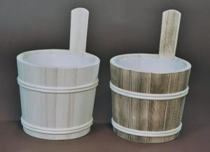 Sauna-Aufgusskübel 5 l mit Holzreifen und Lüfterboden (Sauna-Aufgusskübel mit Holzreifen 5 l: natur)