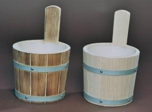Sauna-Aufgusskübel 3,5 l mit verzinkten Reifen (Sauna-Aufgusskübel mit verzinkten Reifen: natur)