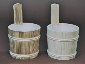 Sauna-Aufgusskübel 3,5 l mit Holzreifen und Lüfterboden (Sauna-Aufgusskübel mit Holzreifen: natur)