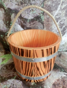 Sauna-Aufgusskübel Lärche 5 l mit Trageseil, versiegelt -geflammt