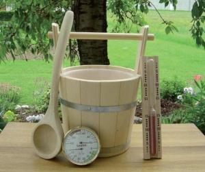 Sauna-Set 4-teilig mit Kübel mit Tragegriff
