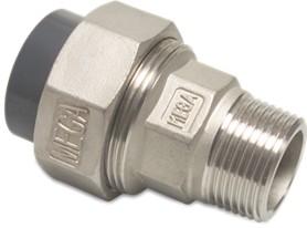 Übergangsverschraubung V4A 1 1/2 AG mit PVC-Einlegeteil D50 mm