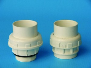 PVC-Verschraubung weiß oder grau mit O-Ring (Verschraubungen weiß: D 50 Klebe/Klebe)