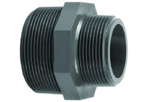 Reduzierdoppelnippel, PVC (Doppelnippel: 2 Zoll x 1 1/2 Zoll Aussengewinde)