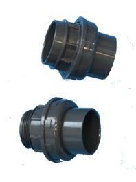 Verschraubungen Klebe/Klebe/IG/AG + O-Ring (Verschraubungen: D 50 x 1 1/2 Zoll IG)