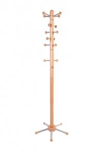 Garderobenständer, massive Buche natur lackiert - Edelstahl - mit verschiebbaren Aufhängern