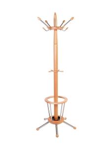Garderobenständer mit Schirmständer aus Holz - Buche natur lackiert mit Edelstahl