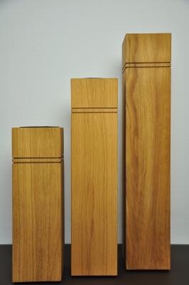 Dekosäule, 3er Set aus Holz, Eiche geölt